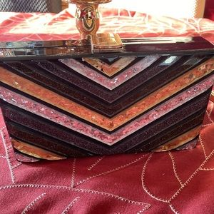 Sondra Roberts tri color clutch **flawed